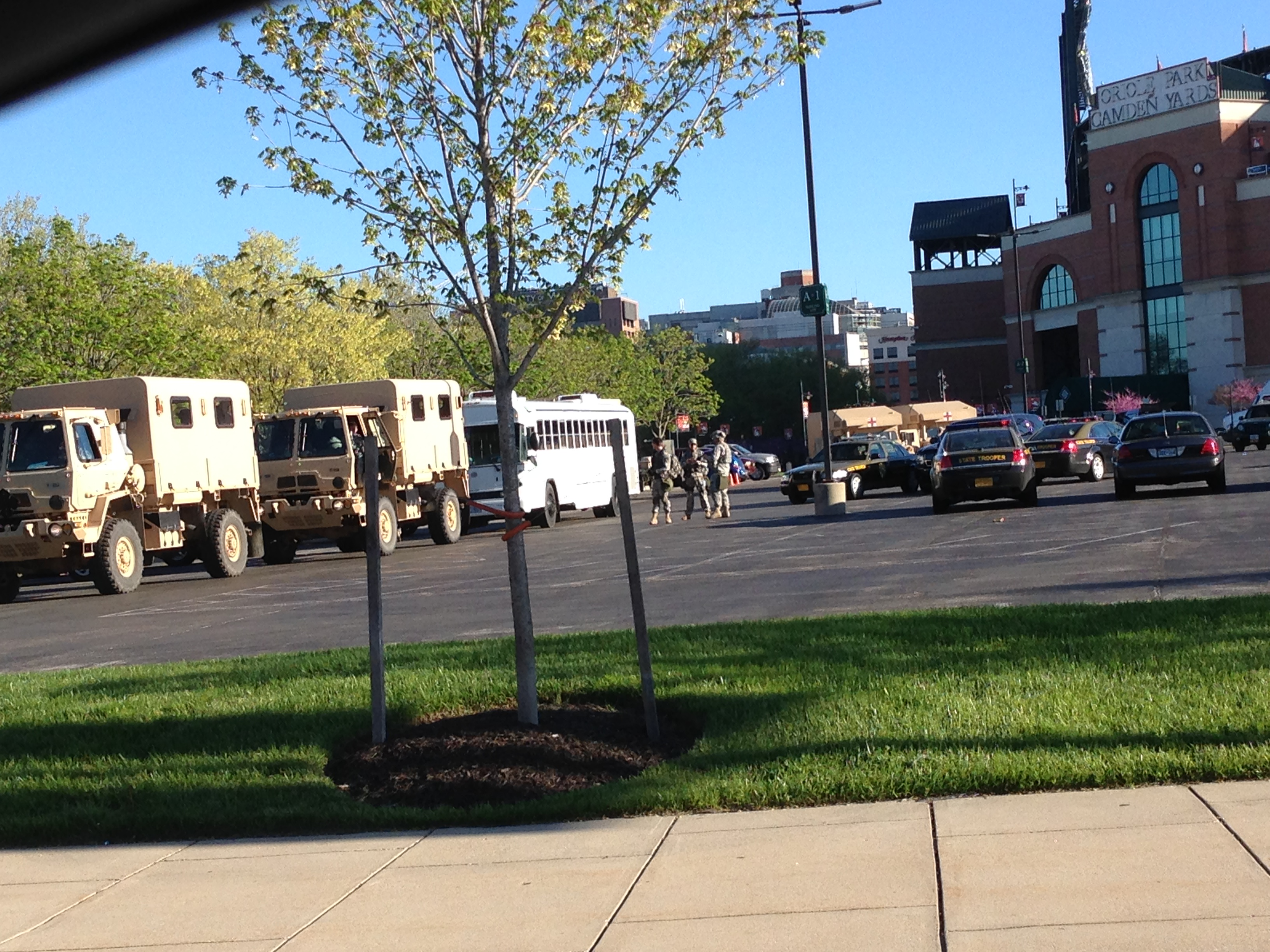 Maryland National Guard troops deploy at Camden Yards during week of Baltimore riots, April 2015.  (VoB Staff photo)
