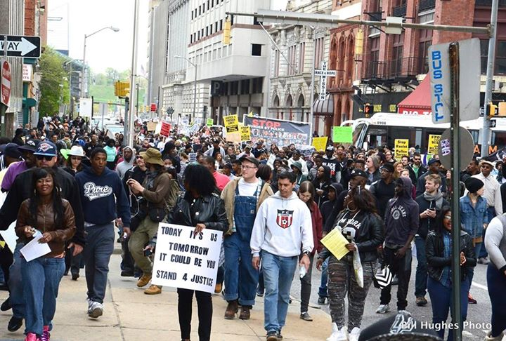 Protesters march in Baltimore during city's most violent week since the assassination of Martin Luther King in 1968. The demonstration shown here was peaceful. (VoB photo/Bill Hughes)