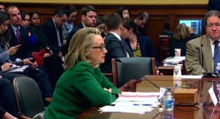Hillary Clinton testifies at congressional Benghazi hearing, winning the day as Republican committee members unwittingly make her sympathetic by badgering her unmercifully.