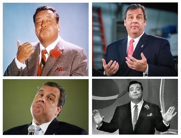 Jackie Gleason plays Chris Christie — or is it the other way around? — in 2016 Voice of Baltimore horror flick. (Ya gotta read the column or you'll never understand!) Gleason is at upper left and lower right — or is that Christie? (No, it's definitely Gleason; upper right and lower left is Christie.)