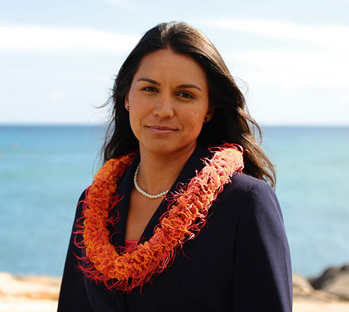 Hawaiian Congresswoman Tulsi Gabbard recently risked her polit- ical career by resigning as a Vice-Chairperson of the Democratic National Committee to endorse Sen. Bernie Sanders for President.