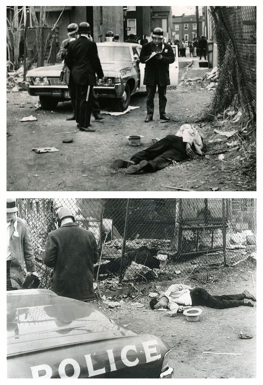 Baltimore riots, 1968:  A man lies dead in the inner city in the days following the assassination of Martin Luther King.
