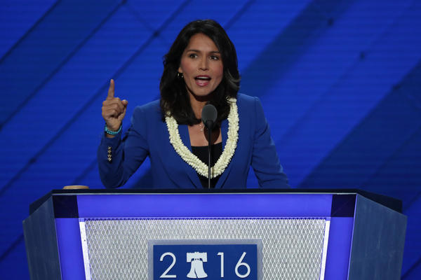 Screen capture shows Rep. Tulsi Gabbard as she places the name of Sen. Bernie Sanders in nomination at the Democratic National Convention.