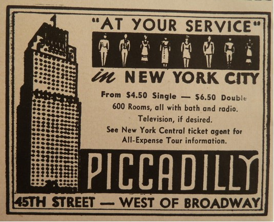 Newspaper ad for New York's Piccadilly Hotel back in the day.