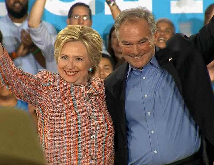 Hillary Clinton's running mate, right, is Tim Kaine, the junior U.S. Senator from Virginia.
