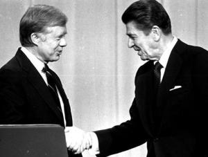 Ronald Reagan, right, defeated incumbent President Jimmy Carter in the Election of 1980.